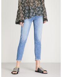 PAIGE - Hoxton Frayed-hem Ultra-skinny High-rise Jeans - Lyst