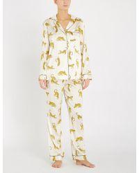 YOLKE - Prowling Stretch-silk Pyjama Set - Lyst
