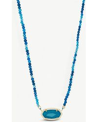 Kendra Scott - Elisa 14ct Gold-plated And Teal Agate Beaded Necklace - Lyst