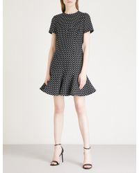 Valentino - Polka Dot-print Flared Wool And Silk-blend Mini Dress - Lyst