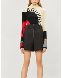 Sandro - Belted High-rise Pleated Cotton-blend Shorts - Lyst