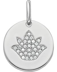 Thomas Sabo - Love Coin Sterling Silver Engravable Lotus Pendant - Lyst