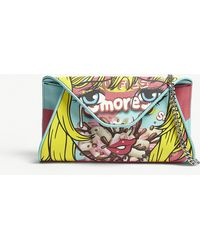 Moschino - S'mores Leather Envelope Clutch - Lyst
