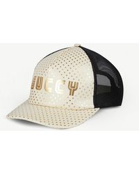 Gucci - Guccy Leather Baseball Cap - Lyst