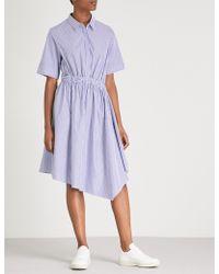Izzue - Striped Asymmetric Cotton Midi Dress - Lyst