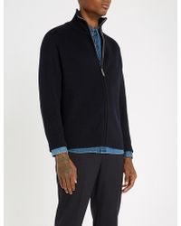 Sandro - Funnel-neck Ribbed Wool-blend Cardigan - Lyst