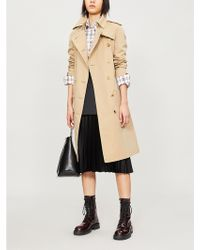Burberry - Protective Womens Beige The Kensington Heritage Check-lined Cotton-gabardine Trench Coat - Lyst
