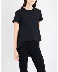 5cm - Dropped-hem Cotton-jersey T-shirt - Lyst