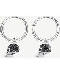 Thomas Sabo - Skull Mini Sterling Silver And Zirconia Hoop Earrings - Lyst
