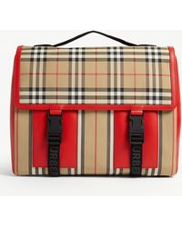 Burberry Check Print Leather And Nylon Satchel