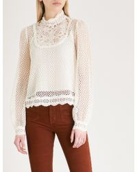 The Kooples - Frilled Neckline Lace Shirt - Lyst