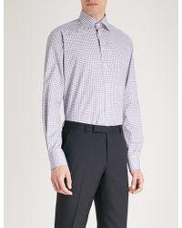 Eton of Sweden - Geometric-print Contemporary-fit Cotton-poplin Shirt - Lyst