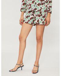 Sandro - Floral-print Crepe Shorts - Lyst