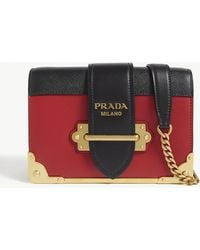 Prada Cahier Small Leather Shoulder Bag - Red
