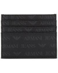 Armani Jeans - Monogram Textured Leather Card Holder - Lyst