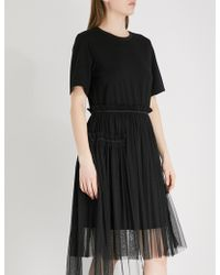 Izzue - Gathered Jersey And Tulle Dress - Lyst