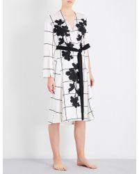 Aimee Kestenberg | Grid-pattern Floral-embroidered Silk-satin Robe | Lyst