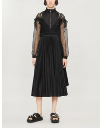 Sacai Hybrid Wool Dress - Black