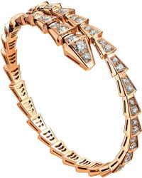 BVLGARI - Serpenti 18kt Rose-gold And Diamond Pave Bracelet - Lyst
