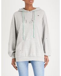 SJYP - Destroyed Cotton-jersey Hoody - Lyst