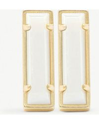 Kendra Scott - Lady 14ct Gold-plated And White Mother-of-pearl Bar Earrings - Lyst