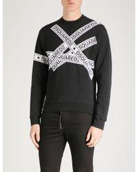 DSquared² - Logo-tape Print Cotton Sweatshirt - Lyst