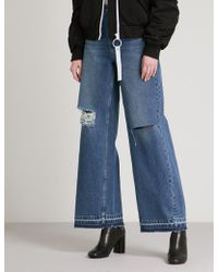 Mo&co. - Distressed Wide High-rise Jeans - Lyst