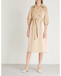Huishan Zhang - Pleated-panel Double-breasted Cotton-blend Trench Coat - Lyst