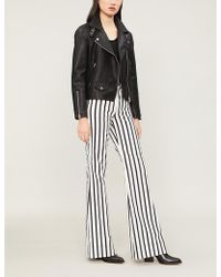 Alice + Olivia - Beta High-rise Striped Flared Jeans - Lyst