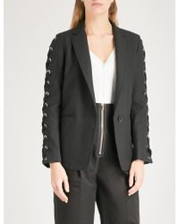 Sandro - Lace-up Detail Woven Jacket - Lyst
