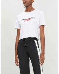 Karl Lagerfeld - Karl Lagerfeld X Kaia Cropped Cotton-jersey T-shirt - Lyst
