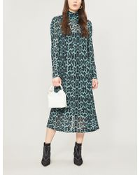 Ghost - Nadia Ruched-neck Leopard-print Stretch-jersey Dress - Lyst
