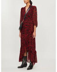 Ba&sh Selina Tiger-print Crepe Midi Dress - Red