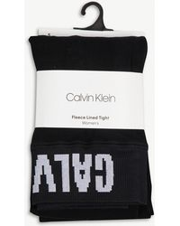 Calvin Klein - Fleece-lined Logo Tights - Lyst