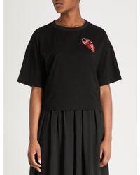 Izzue - Sequin-trimmed Stretch-cotton T-shirt - Lyst