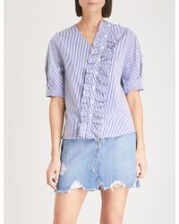 Izzue - Ruffled-detail Striped Cotton-blend Shirt - Lyst