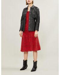 539484864 The Kooples - Ruffle-trimmed Leopard-print Silk-crepe Dress - Lyst
