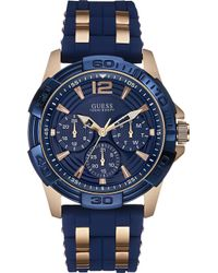 Guess - Men's Rose Gold-tone And Blue Silicone Strap Watch 43mm U0366g4 - Lyst