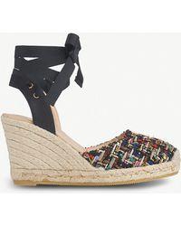 dd0e55592d1eb L.K.Bennett - Tianna Tie-up Tweed Sandals - Lyst