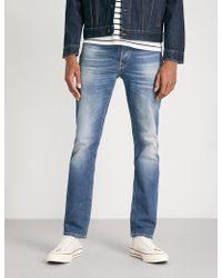Nudie Jeans - Grim Tim Faded Straight-leg Jeans - Lyst