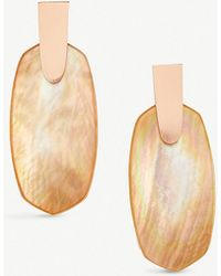 Kendra Scott - Aragon 14ct Rose Gold-plated And Brown Mother-of-pearl Earrings - Lyst