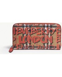 Burberry - Graffiti Vintage Check Leather Wallet - Lyst