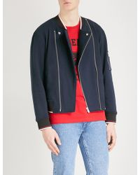 The Kooples - Striped-trim Cotton Bomber Jacket - Lyst