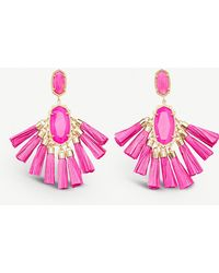 Kendra Scott - Kristen 14ct Gold-plated And Agate Stone Drop Earrings - Lyst