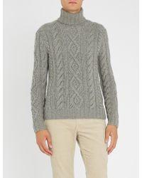 Ralph Lauren Purple Label - Cable-knit Cashmere-and-mohair Blend Jumper - Lyst