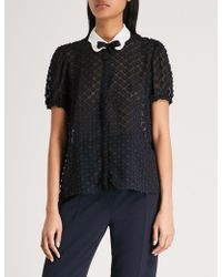 Claudie Pierlot - Peter Pan-collar Floral-embroidered Blouse - Lyst