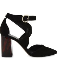 Whistles | Taylor Cross-strap Suede Marble Heels | Lyst