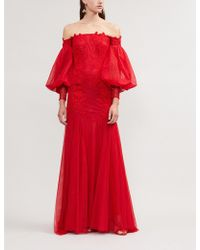 Costarellos - Off-the-shoulder Appliquéd Tulle Gown - Lyst