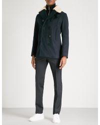 Sandro | Shearling-collar Wool-blend Coat | Lyst