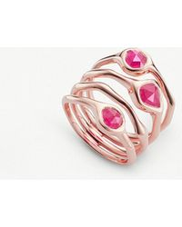 Monica Vinader - Siren 18ct Rose Gold-plated And Pink Quartz Cluster Ring - Lyst
